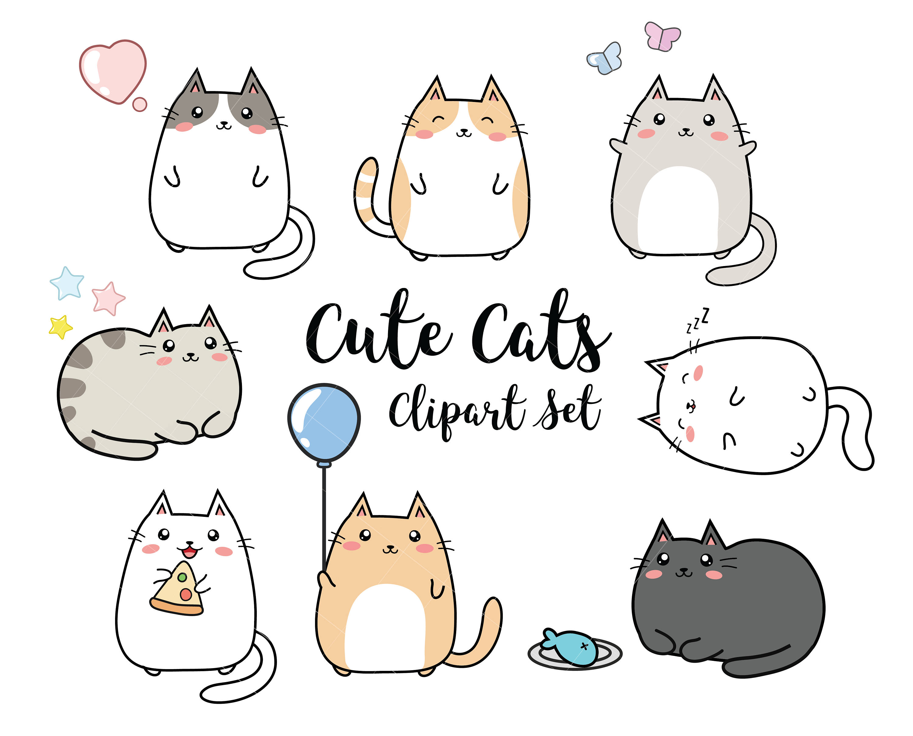 Vector Clipart Kawaii Cats Cute Cats Clipart Set High