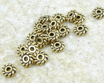 6mm Gold Beads - Antique Gold Spacer Beads - TierraCast 6mm TWIST Heishi Beads (PS74)
