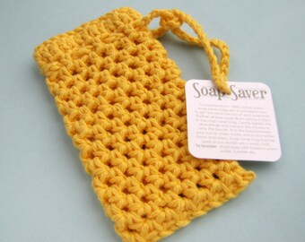 Sunshine yellow soap saver crocheted bright lemon cotton yarn soap sack