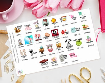 February Wacky Holidays Planner Stickers for Erin Condren, Happy Planner, schedule, fun days, Filofax, Kikki K, TN, Days of the year