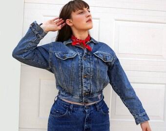 SALE 1980s Cropped GUESS Jean Jacket