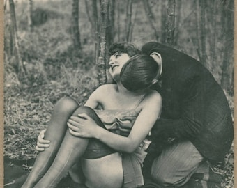 Liaison In the Woods | Couple Necking | Erotic Fetish Scenario | 1930's | Clocked Stockings | Upskirt | Antique Risqué |