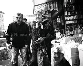 Street Photography, People In The Market, Instant Digital Download, Printable Art, Black and white Photo, Tbilisi Photograpy