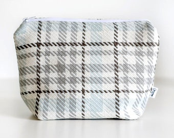 Plaid Cosmetic Case, Blue Brown and white, Polyester, Linen, Cotton, Makeup Bag