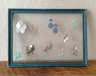 Chicken Wire Earring Holder | Distressed Jewelry Organizer | Rustic Home Décor
