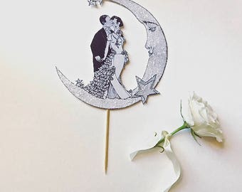 Wedding Cake Topper  - Art Deco - Bride and Groom -Moon and Stars-Great Gatsby- Luminescent
