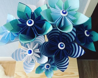 Origami kusudama paper flowers, blue  themed paper flowers, home decor