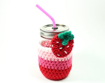 Strawberry Mason Jar Tumbler, Drinking Mug Set, Crochet Cozy With Pint Glass, Smoothie Jar, Party Cup