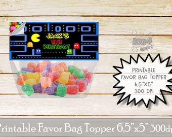Pacman favor bag topper, Pacman birthday party, Arcade game favor bag topper, Printable bag toppers, Birthday party supplies