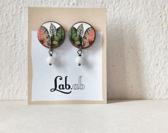 Pow! *Botanica* - TROPICAL WHITE - Paper on Wood earrings - stud earrings with beads - flowers