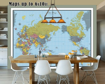 Large world map etsy large world map detailed map of the world40x60 up to 6x10ft in size gumiabroncs Image collections