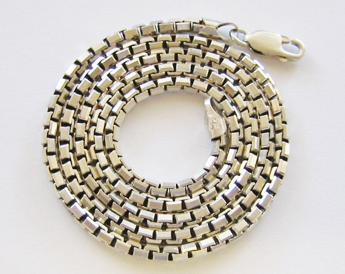 Sterling Silver, Unisex Thick Box Link Chain or Necklace... 20+ Inches Long.