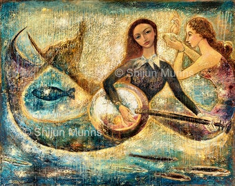 Mermaid art print, Mermaids Playing Music Under Sea-blue giclee print on canvas or paper by Shijun Munns-Fantasy art-oil painting-Signed