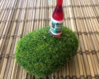 Fairy garden moss rock with wine bottle, FREE SHIPPING with any other purchase, terrarium accesories, miniature garden accents