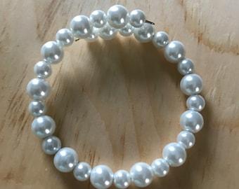 White Faux Pearl Bracelet