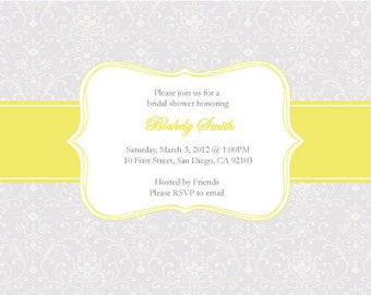 Damask Wedding Shower or Baby Shower DIY Invitation and Thank You tags