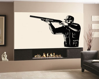 Wall Decal Sticker Bedroom Hunter Gun Shooting Deer Duck Hunting 001b