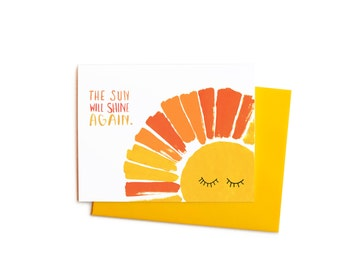 Sympathy Card, Optimistic, The Sun Will Shine Again, Happy Thinking of You Get Well Card