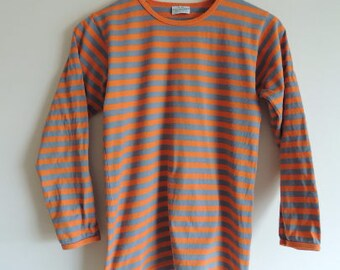FREE SHIPPING - Vintage MARIMEKKO 100% Cotton orange and gray striped Cotton long sleeve soft top, tall 150 cm, made in Finland
