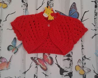 Red Bolero, 0 - 3 Months, Sparkly Bolero, Baby Girl, Knitted Bolero, Handmade, Hand Knitted, Baby Shower Gift