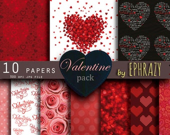Valentine digital paper. Valentine paper. Valentines paper. Valentine's day. Heart digital paper. Heart Red. Heart paper.