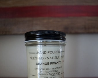 Soy Emollient Candle. 8oz net weight. ORANGE PICANTE. Small batch. Hand poured. Made to order.