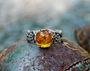 """Sterling Silver Amber Ring """"May"""" MADE TO ORDER, flower ring, antique ring, women ring, silver ring"""