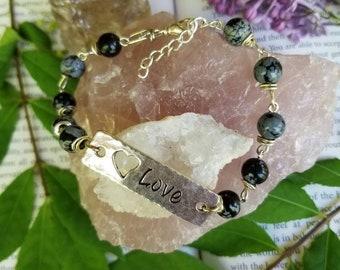 Love gemstone beaded bracelet