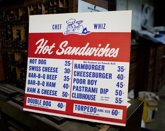 Vintage Sign - Hot Sandwiches - Early 1960s (Free shipping US)