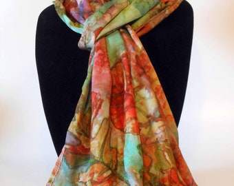 Silk scarves, women's scarves, fashion accessories, autumn, fall, leaf, leaves scarf