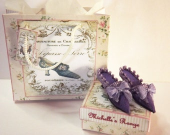 Dolls house miniature Lilac silk shoes 1/12th scale