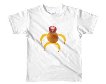 Short sleeve kids t-shirt with fun fruit man design, encourage kids to eat their fruit!