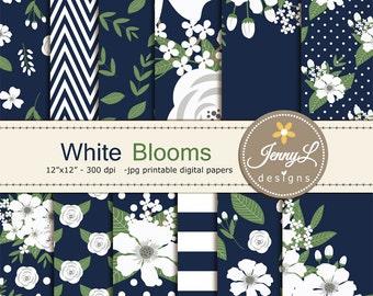 White Floral digital paper,  Navy Blue Wedding Flower Paper Digital scrapbooking, invitations, birthday, wedding, Planners