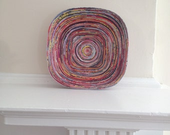 Eco-Art 'Square Peg' Bowl, Unique Handmade Recycled Paper Quilled Decor, Wall Art, Basket, Dish, Plate