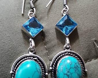 Turquoise and Aqua Quartz Earrings !