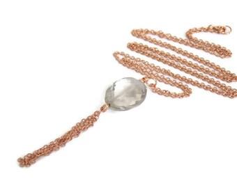Smoky Quartz Tassel Necklace, Smoky Quartz Jewelry, Luxe Gemstone Jewelry, Valentines Necklace, Modern Artisan Jewelry, Boho Luxe Jewelry