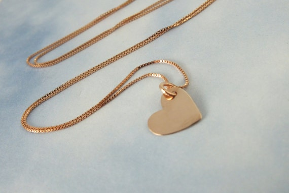 Solid gold heart necklace 14k white gold heart necklace 14k aloadofball Images