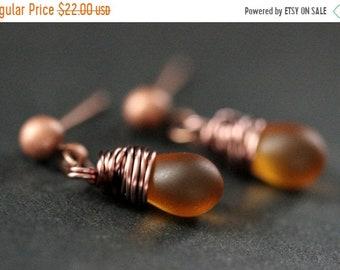 MOTHERS DAY SALE Copper Earrings - Clouded Amber Teardrop Earrings. Dangle Earrings. Stud Post Earrings. Handmade Jewelry.
