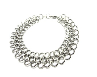 Narrow Metal Bracelet Handmade Chainmaille