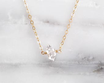 Herkimer Diamond Necklace / Tiny Diamond Necklace / April Birthstone Necklace / Valentine's Day Necklace / Gift for Her / Simple Necklace