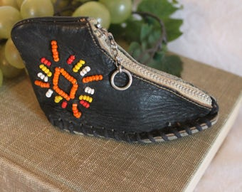 Vintage Leather Sneaker or Tennis Shoe Coin Purse - Beaded Leather, Native American
