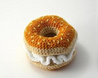 WAREOFTHEDOG Hand Crochet Bagel & Cream Cheese Toy