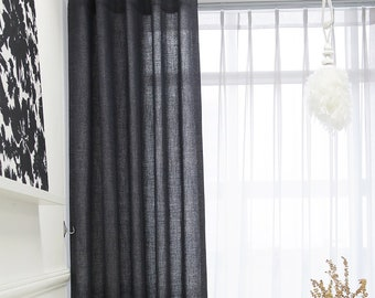 Navy Gray Linen Blended Classic Curtain