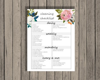 Cleaning checklist printable - daily, weekly, monthly, and every 6 months cleaning checklist.  Spring Cleaning Checklist.