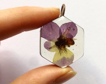 Real Honey Bee and flower pendant- resin copper hexagon viola flower nature inspired gifts