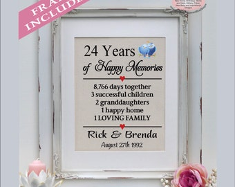 24th wedding anniversary, 24 years married, 24 years together, gift for anniversary, 24th anniversary gift, anniversary ( ann402-24)