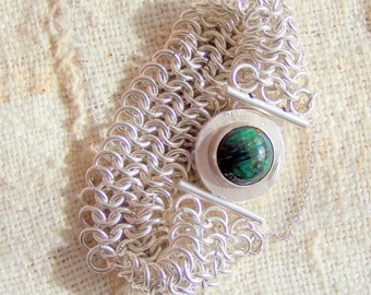 Malachite and Chain Maille Silver Bracelet