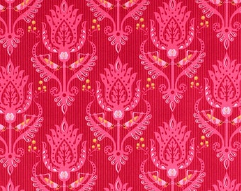 "OOP Riley Blake Designs Patty Young Primavera Hopper C5741 Grasshopper Damask Pink HY Half Yd 18"" Quilt Quilting Sewing 100% Cotton Fabric"