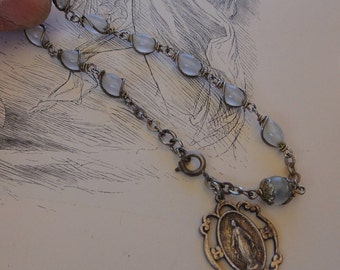 Dainty milk glass bead Rosary Bracelet with Miraculous Medal