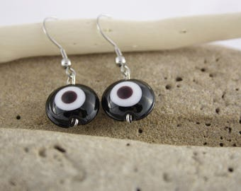 Black Lampwork Glass bead earrings